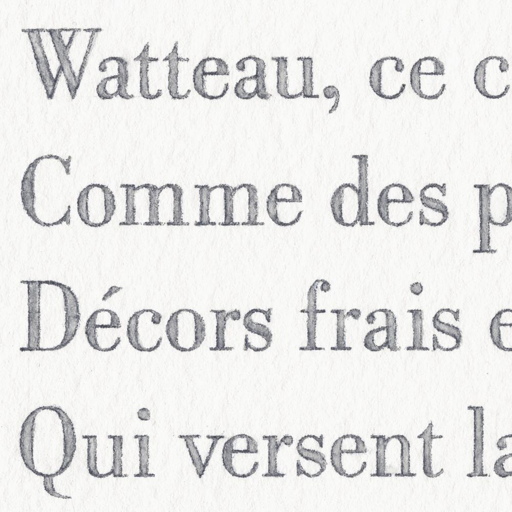 Baudelaire, Les phares (Watteau), detail, 2013 watercolor and pencil on paper,11x14