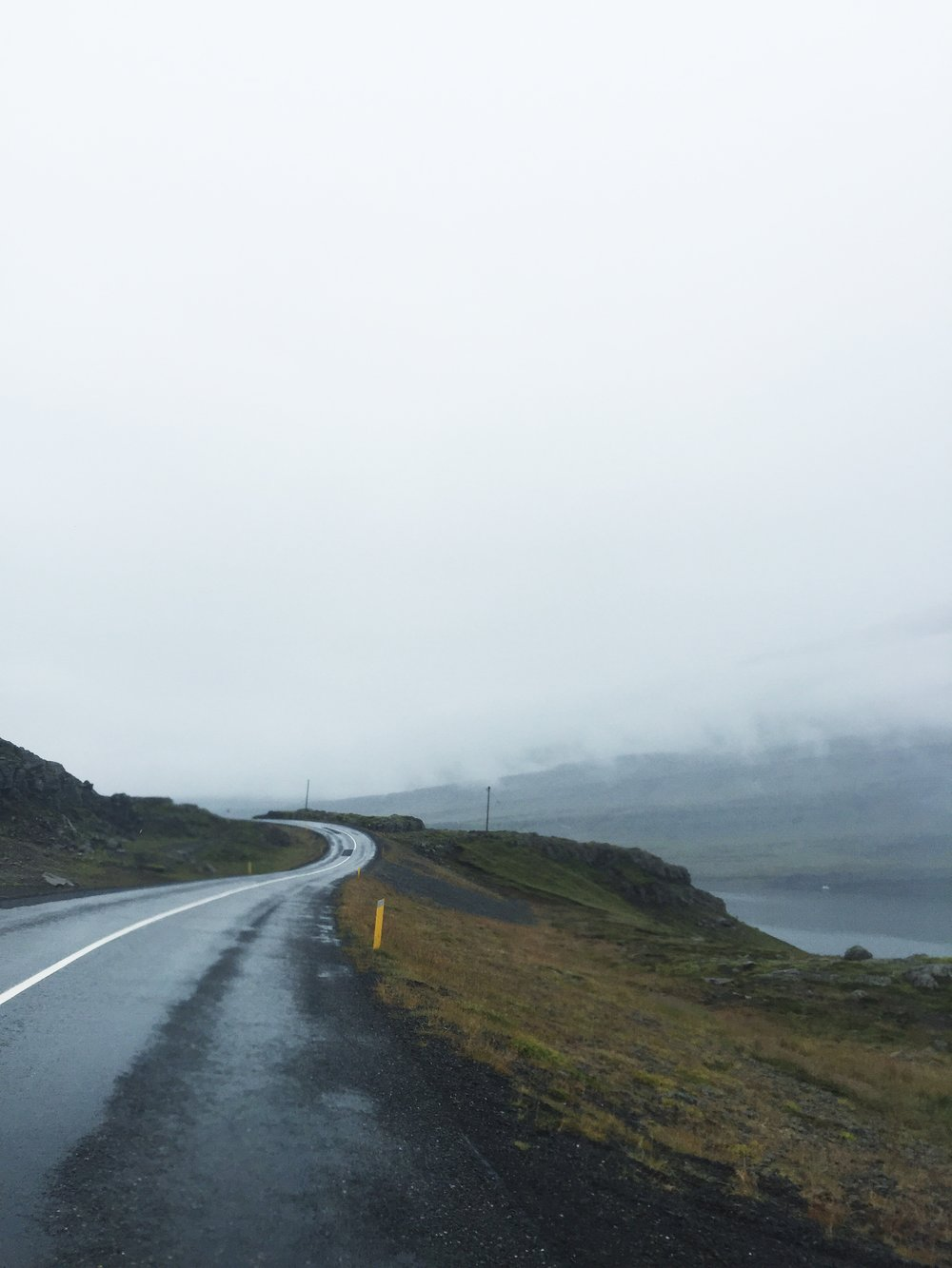 Low visibility on RTE 1, East Iceland