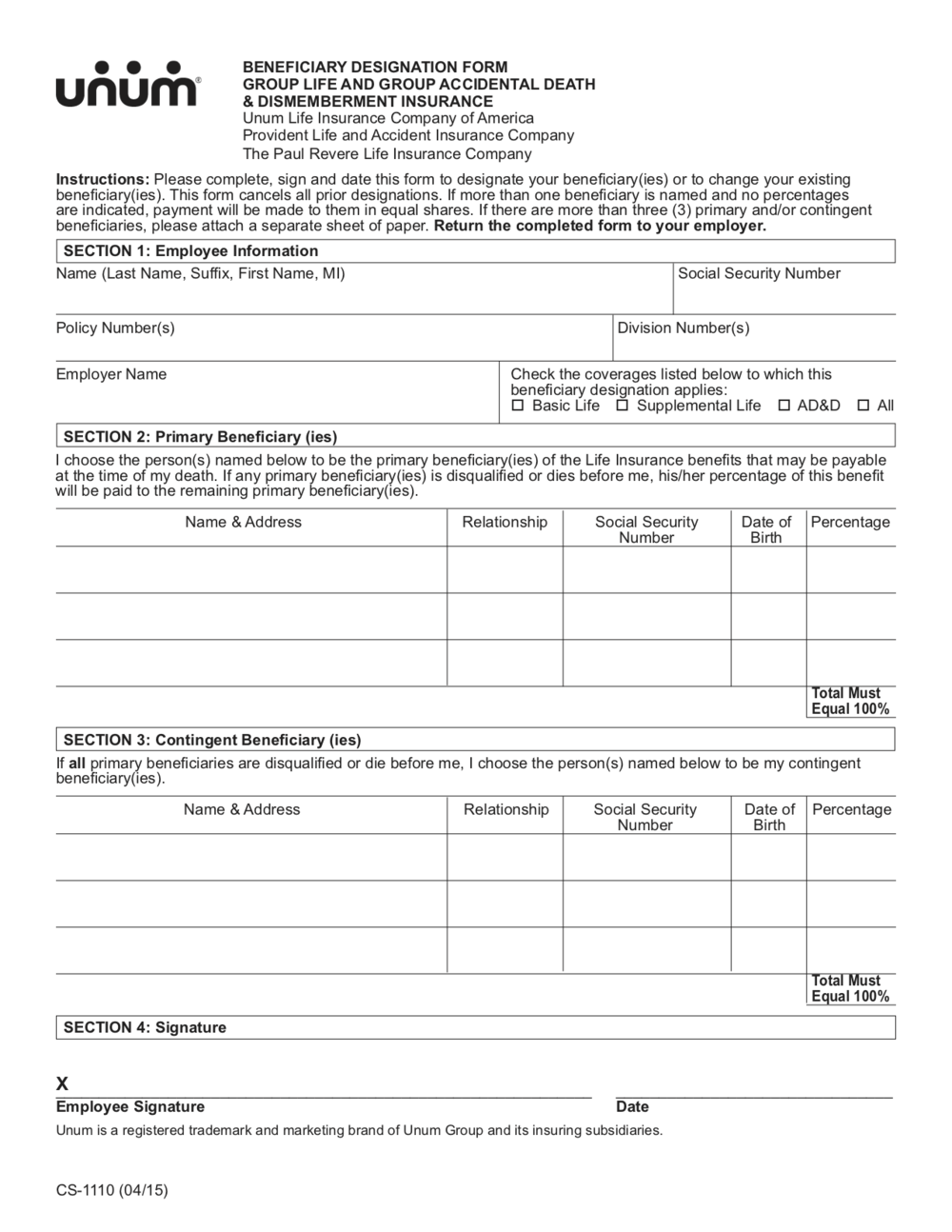 Beneficiary Designation Form