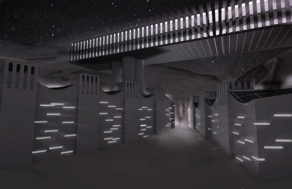 entrance at night rendering
