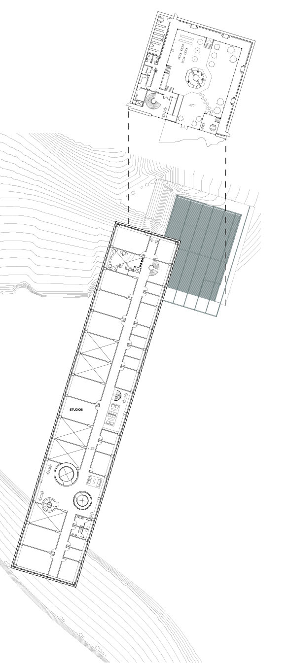 plan of elevated bar and library