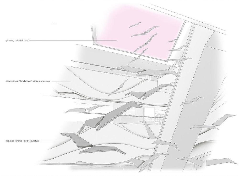 schematic design of escalator well