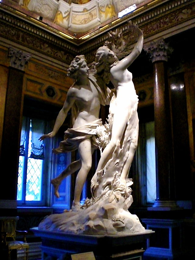 Gien Bernini's  Apollo and Daphne  housed in the Galleria Borghese in Rome.
