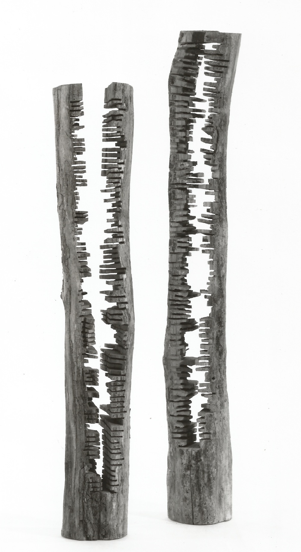 Totems, 1988, locust. Shorter: 77 inches in height, 14 inches in diameter; Taller: 88 inches in height, 11 inches in diameter.