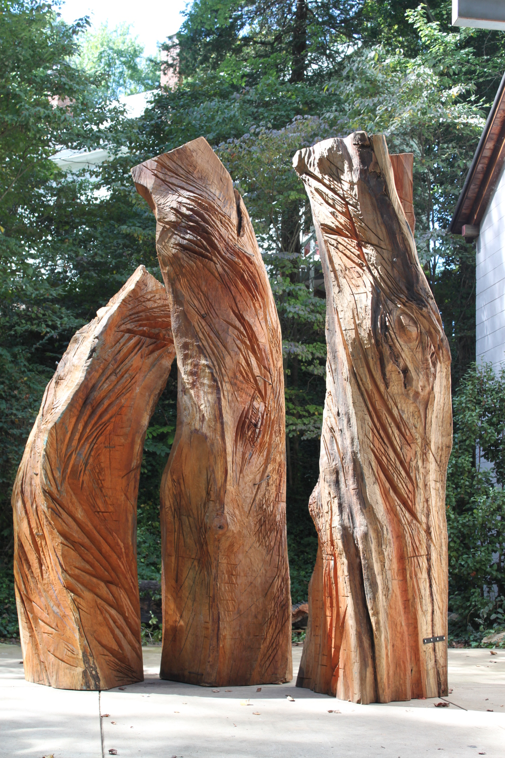 The wood model  Lament,  seen here outside my studio before the casting process at Polich Tallix Foundry.