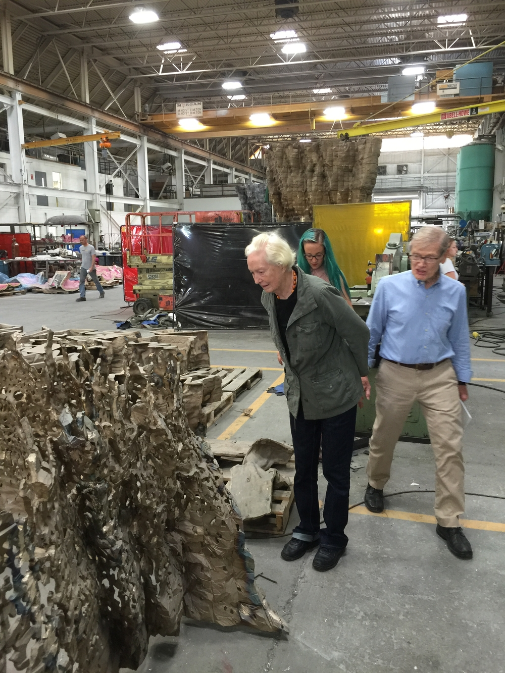The foundry is working on a nice work for my colleage, Ursula von Rydingsvard. Here I am with Mr. Polich and Ms. Minor examining her work.