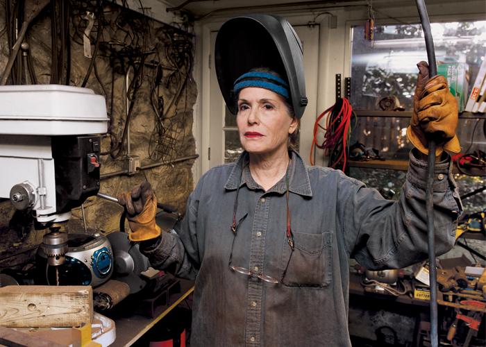 Dalya Luttwak prepares to weld in her D.C. studio.