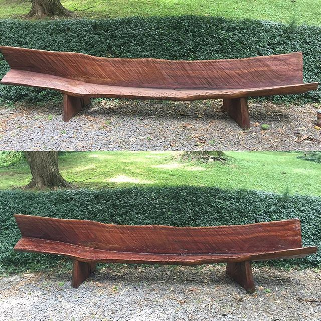 "Resealed ""Cherry Bench II"" today. It helps protect the wood from sun, water, and other damage. I've been using the same clear finish for years. It gives the bench a new richness.  #art #wood #contemporaryart #sculpture"