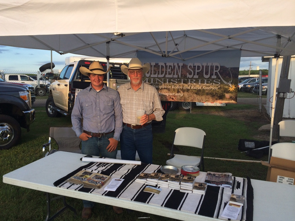 GSM Board Member Alan Phipps and his son Andy, helping with our booth at the Flint Hills Rodeo in Strong City, KS.