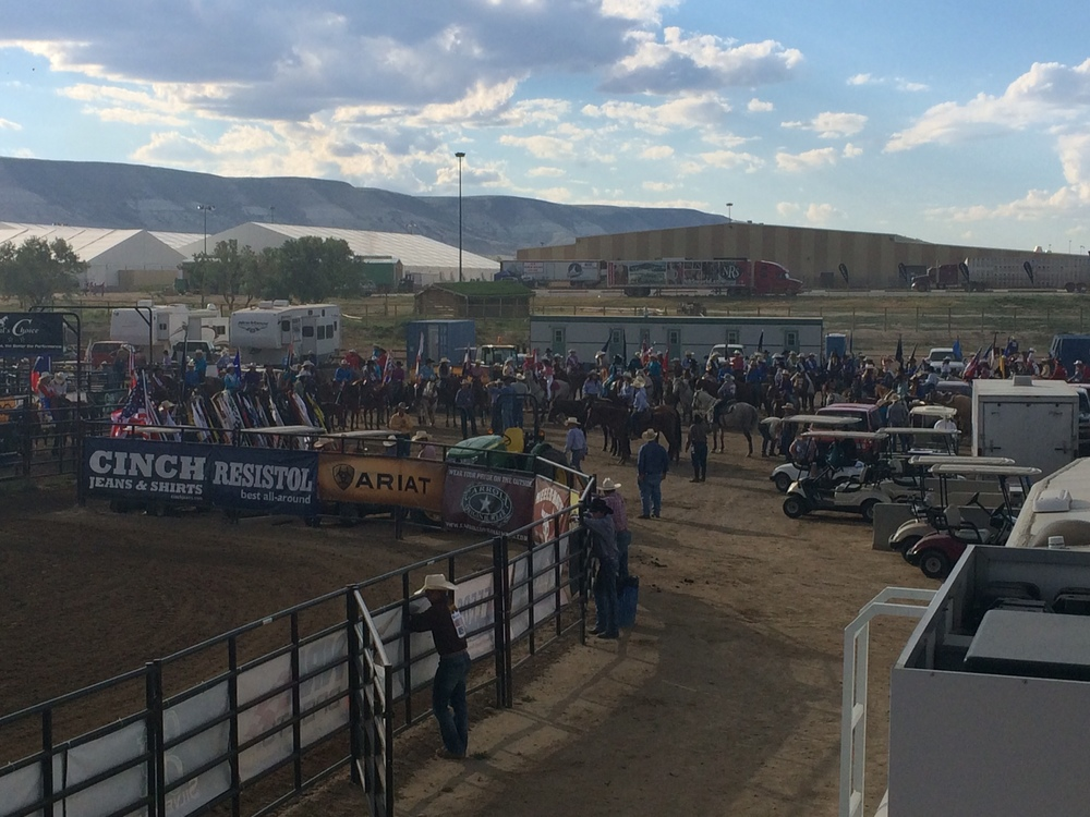 Just to show you the scope of the rodeo itself, here's a great picture of just a few of the 1,521 contestants getting ready for the first of thirteen performances.