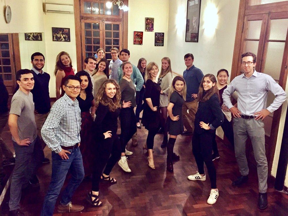 Puentes tango class posing