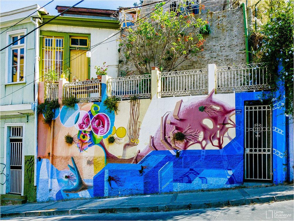 Street art Valparaiso by Laima Drukneryte