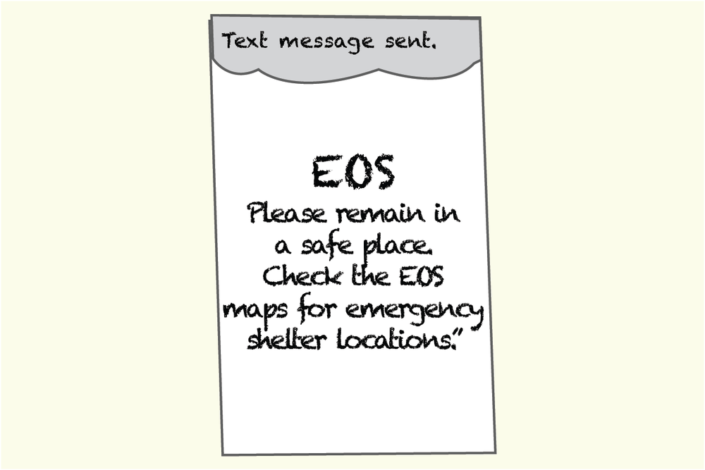 Susan receives a confirmation that the text was sent and sees a new EOS message.