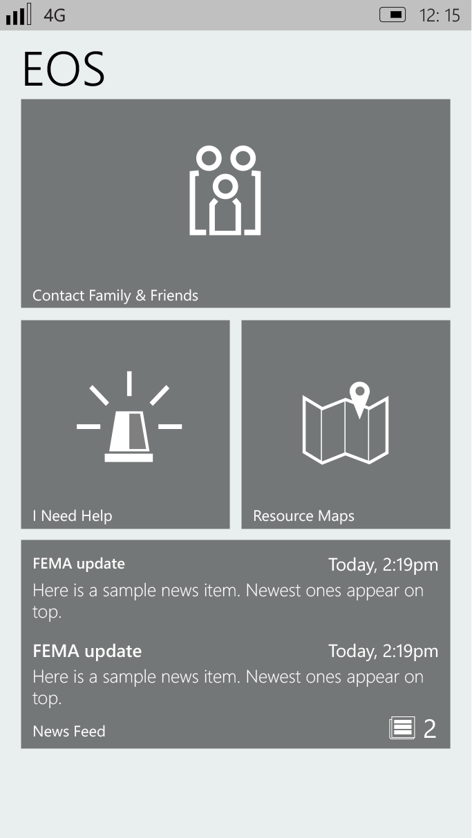 """EOS MAIN SCREEN   The main EOS screen has four basic options: Contact Family & Friends, """"I Need Help"""", Resource Maps, and News Feed. EOS is always present during the disaster period; however, users can always access normal phone operations."""