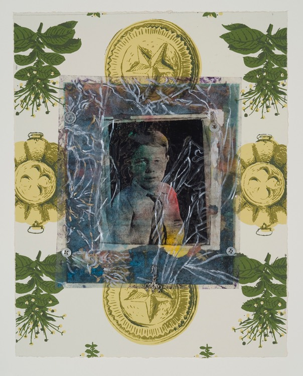 "Gail Skudera,  Medallion Portrait, 2011, Mixed media, 14"" x 11"", $900."