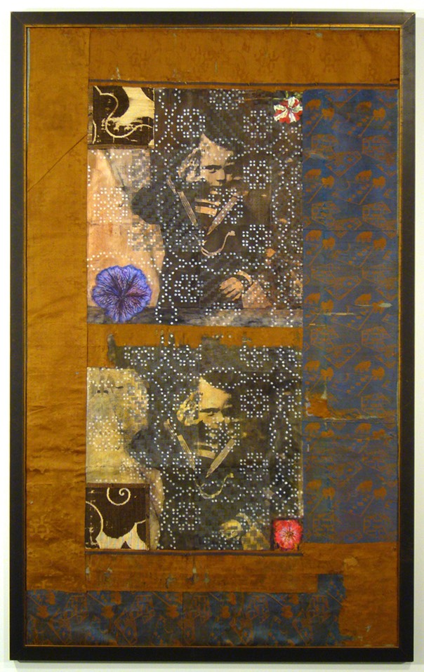"Gail Skudera,  Whigs and Roses , 2006, Woven mixed media, 51.5"" x 31.5"", $5000."