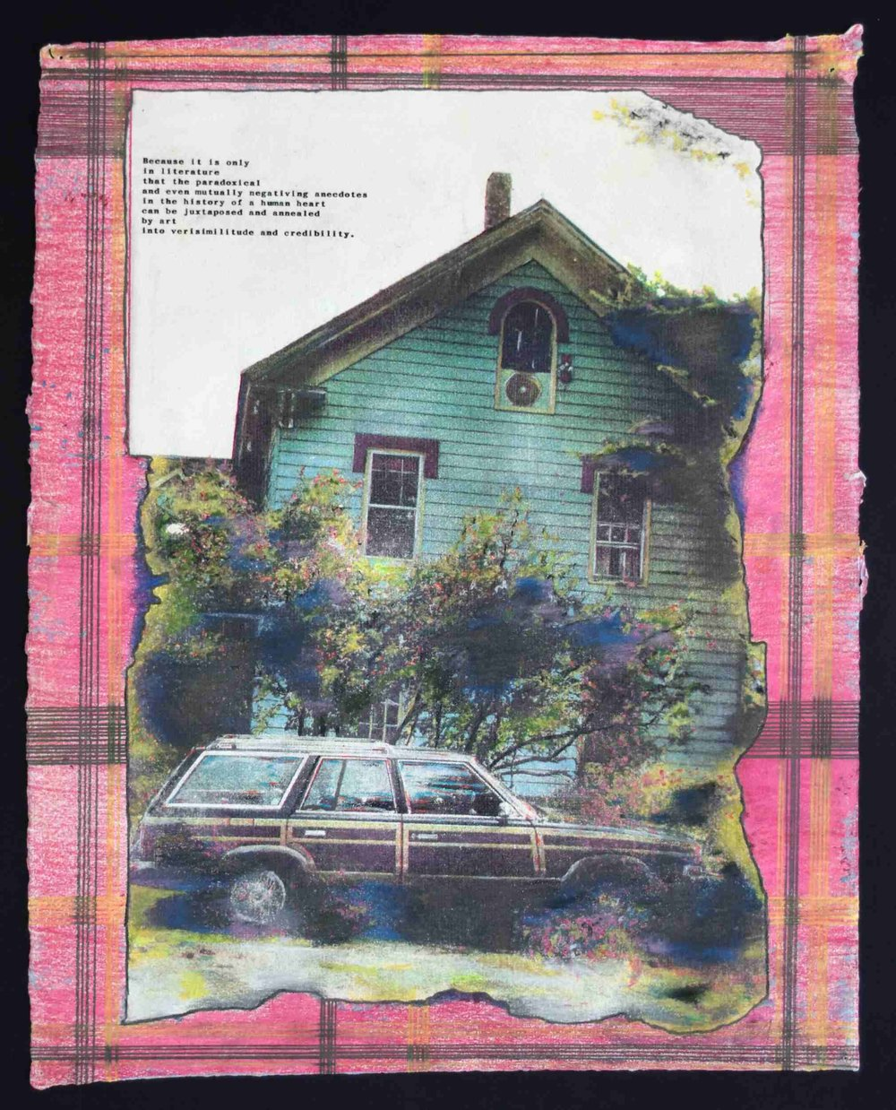 Greg Shattenberg,  Home with Faulkner,  1987, Mixed media, 14 x 17 inches