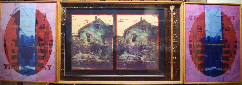Greg Shattenberg,  The Habit , 1991, Mixed media triptych,118 x 39 iches (open)