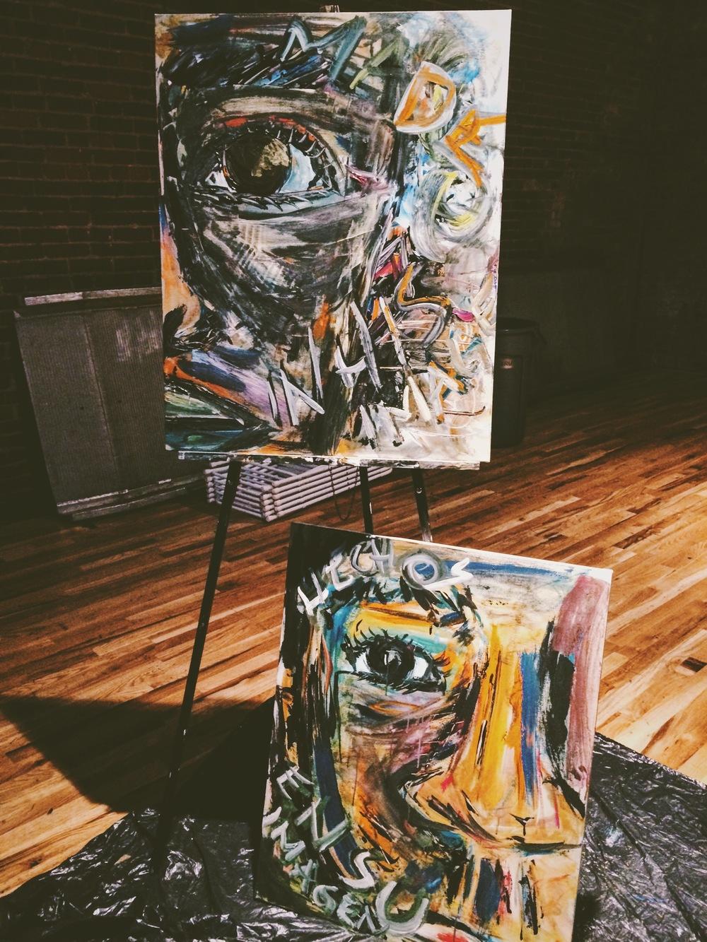 Paintings after the worship night | Cuadros después de la reunión.