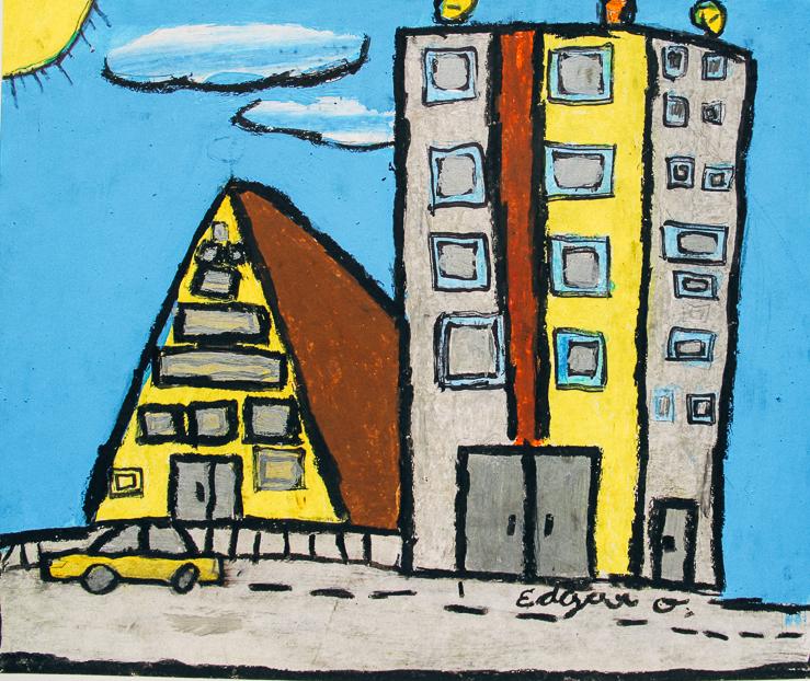 Painting by Edgar. Age 11. Dibujo por Edgar (11 años).