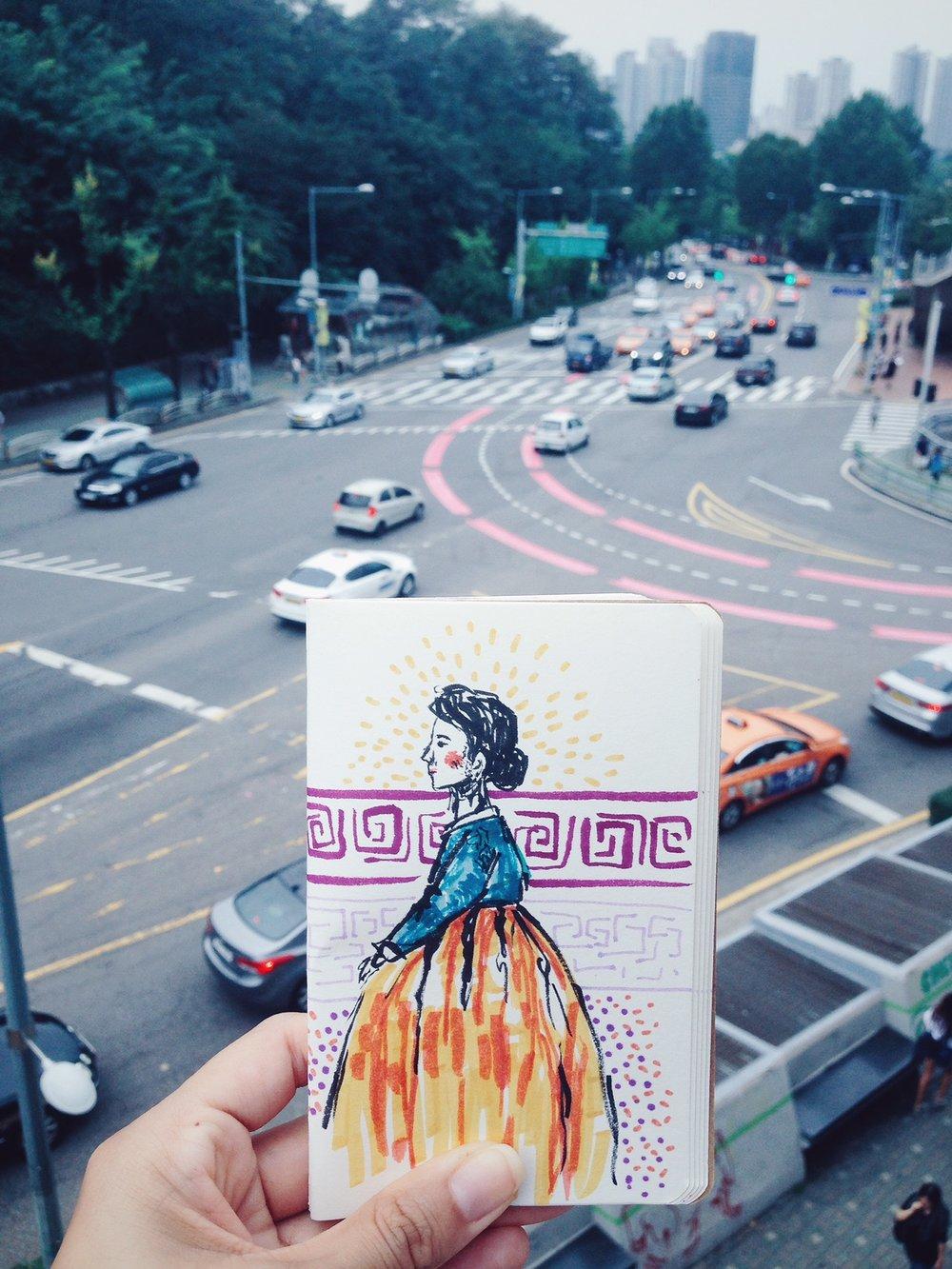 Mujer con Hanbok (vestido tradicional) en Seúl