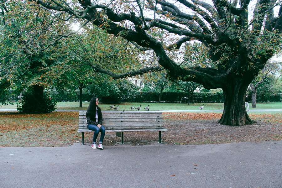 Friend sitting on bench