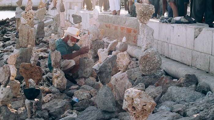 What if your passion was to make sculptures out of rocks? (Taken at Rio Tejo in Portugal).