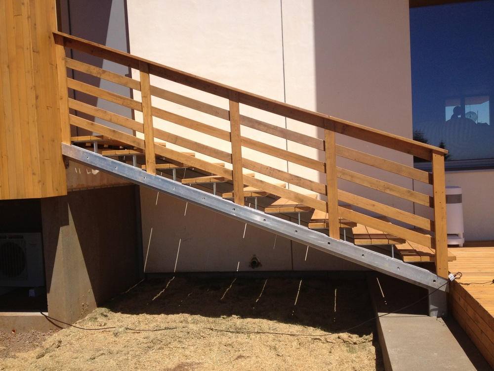 Painted Steel structure for the staircase.  Designed by Holst Architecture