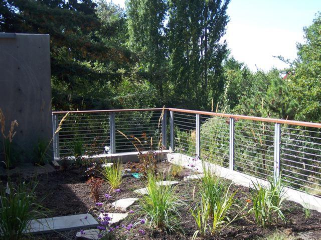 Galvanized cable railing.  Designed by Eggleston Farkas Architecture