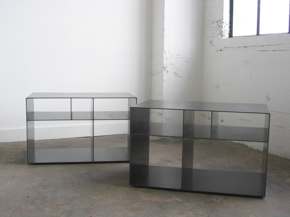 Hot Rolled Steel Shelves.  Designed by Eggleston/Farkas Architecture