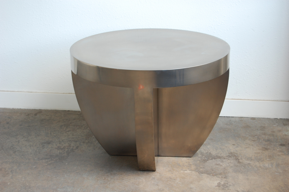 Nickel Plated Side Table.  Designed by Group Jake Collaborative