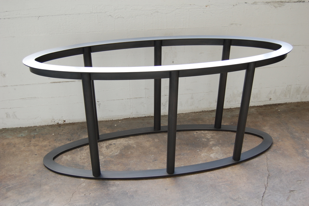 Blackened Steel Table Base.  Designed by Hensel Design Studios