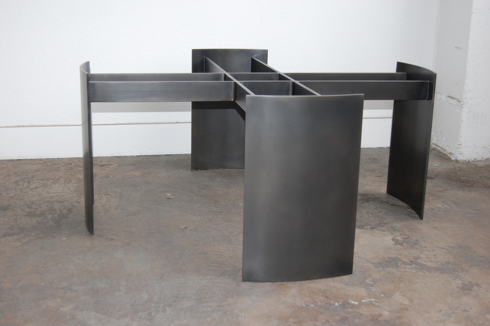 Blackened Steel Coffee Table Base.  Designed by Hensel Design Studios