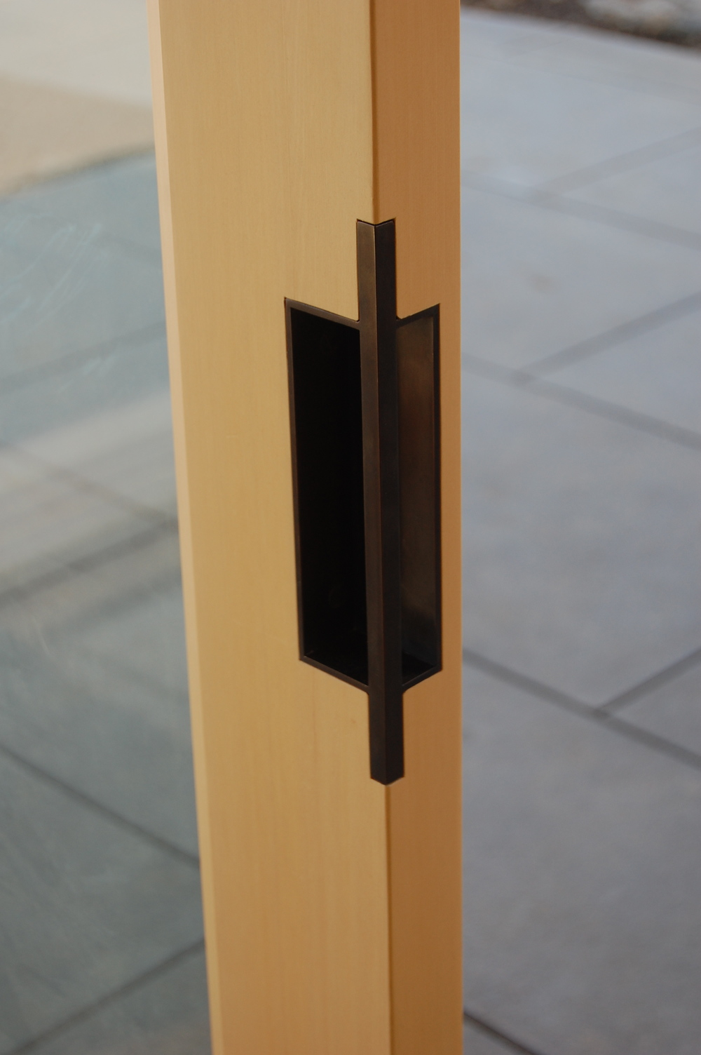 Bronze door pull. (1 of 8)  Designed by Greenline Fine Woodworking