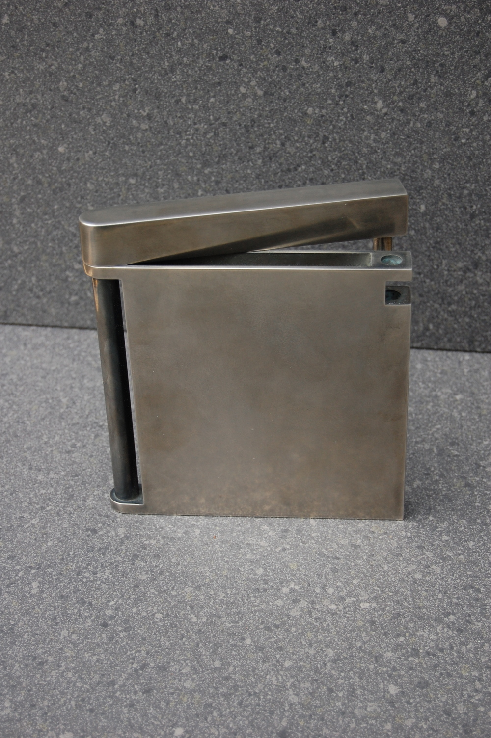 Nickel Plated Brochure holder with light patina.  Designed by Formed Objects