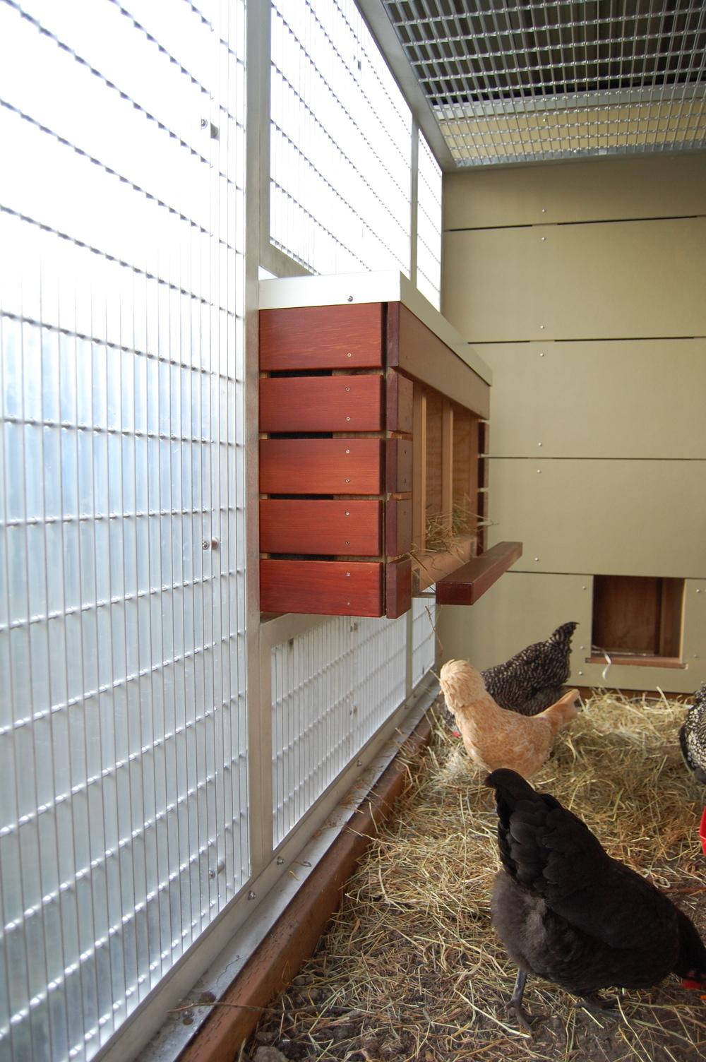 Aluminum chicken coop with a cedar nesting box  Designed by Eggleston Farkas Architecture
