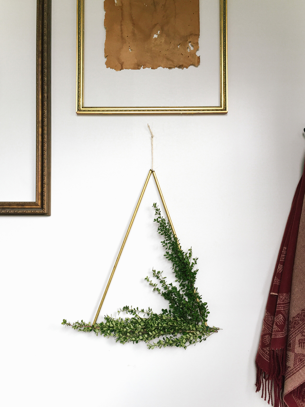 DIY Brass Triangle Wreath