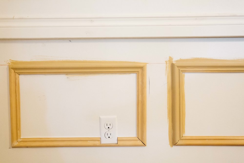 Caulking A Chair Rail Part - 17: Once All The Frames Were Up, It Was Priming And Caulking Time. The Outlets  Were A Pain In The Butt Because They Were In The Way But I Decided To Have  The ...