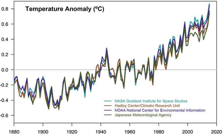 This graph shows global temperature data as recorded by four international institutions. These records show a consensus on global temperature increases since 1880 and all four show that the last decade has been the warmest on record. In 2016, the average global temperature was at a record high at 1.1°C warmer than the pre-industrial period and 0.83°C above the average from 1961-1990 as recorded by the  World Meteorological Organization .  ( Image source: NASA – Global Climate Change: Vital Signs of the Planet )