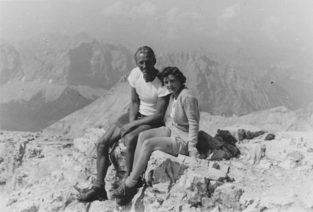 His idea of courtship was dragging my mother up a mountain. It worked.