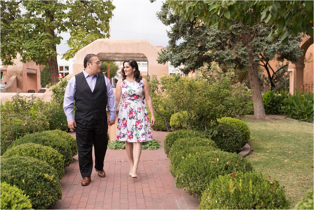 albuquerque wedding photographer, old town engagement session, floral engagement dress, lavender and rose hair and makeup, engagement hair and makeup