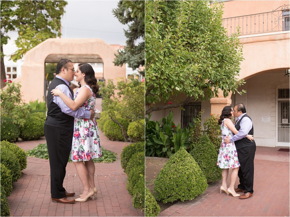 albuquerque wedding photographer, old town engagement session, floral engagement dress, lavender and rose hair and makeup, engagement hair and makeup, new mexico wedding photographer