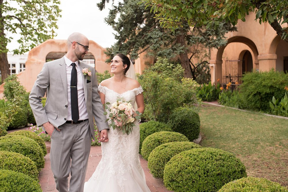 San Felipe de Nero and Hyatt Downtown wedding, bridal elegance by darlene, jewelry enchanted jewelers, dj cutmaster music, albuquerque wedding photographer, blush and grey