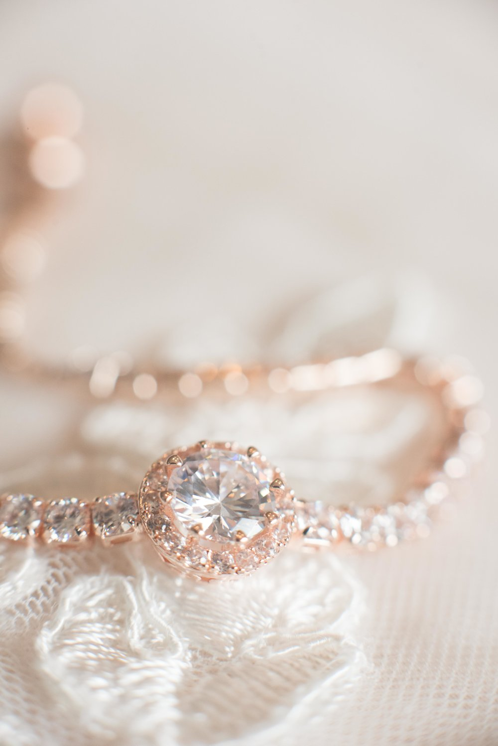 An elegant rose gold bridal bracelet with diamonds.  Perfect for the bride and her special jewelry for wedding day.