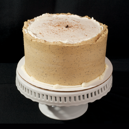 "Macchiato Two layer chocolate espresso cake filled and iced with espresso butter cream and topped with fresh whipped cream. 6"" (serves 8): $34 