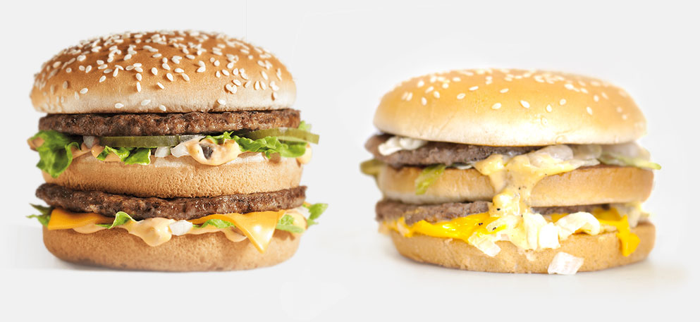 Left: McDonald's Big Mac (marketing photo); Right: McDonald's Bic Mac (as served).