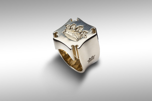 Mandala gray gold ring 18ct