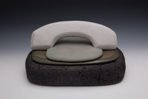 Les Manning, Land Line, 2011, course textured stoneware with granite and perlite, smooth textured stoneware and celadon glaze, 23 X 47 X 33 cm