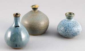 Hansen-Ross Pottery, Three Gnome Pots, centre vase made by Brian Ring while working with Hansen-Ross Pottery, Stoneware, Glaze, L to R: 1986, 1973, 2001, 7 X 5 cm, 6 X 8 cm, 5 X 5 cm, Collection of Maureen Knox.