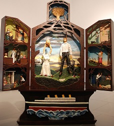Heather Benning, The Altar, Cedar, pine, chipboard, stain, oil paint, polyurethane plastic, fiberglass resin, polyester resin, glue, tin foil, silk flowers, wheat, yarn, wire, metal, Styrofoam, rocks, auto-body paste, apoxi-sculpt, paper. 255cm x 220cm x 61cm. 2013
